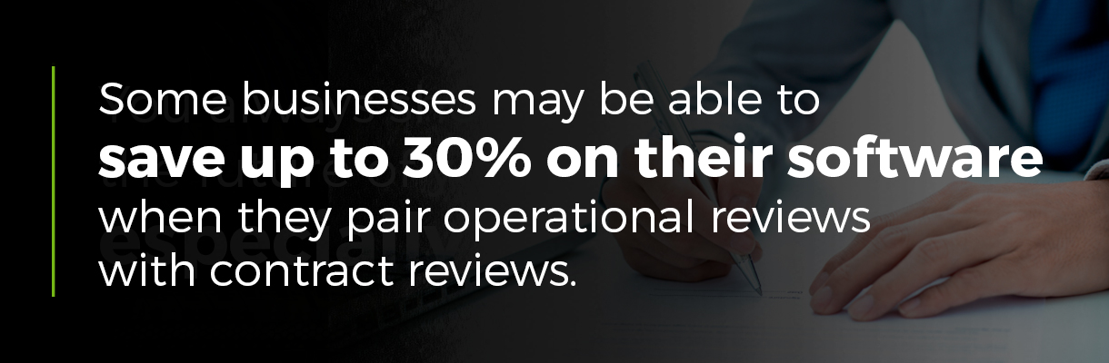 Businesses may be able to save up to 30% on software with operational and contract reviews