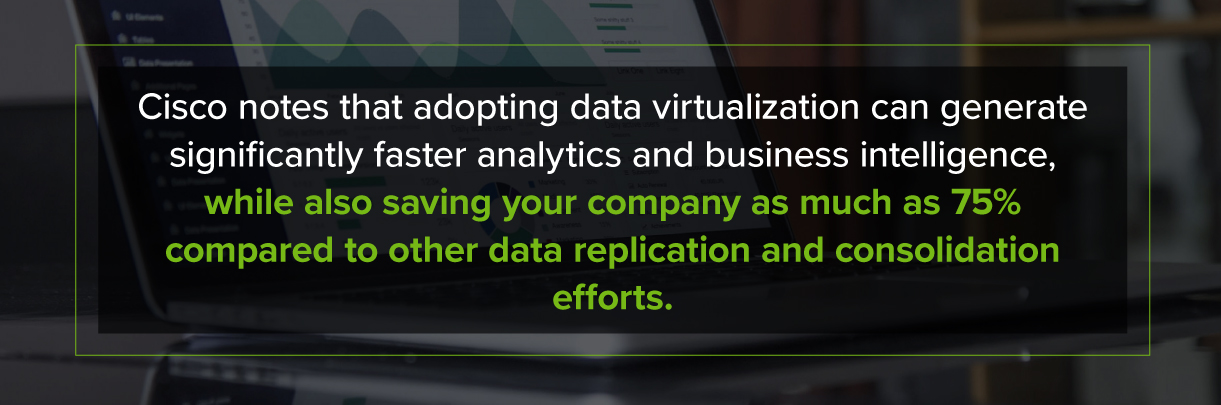 Cisco notes adopting data virtualization can generate faster analytics and business intelligence
