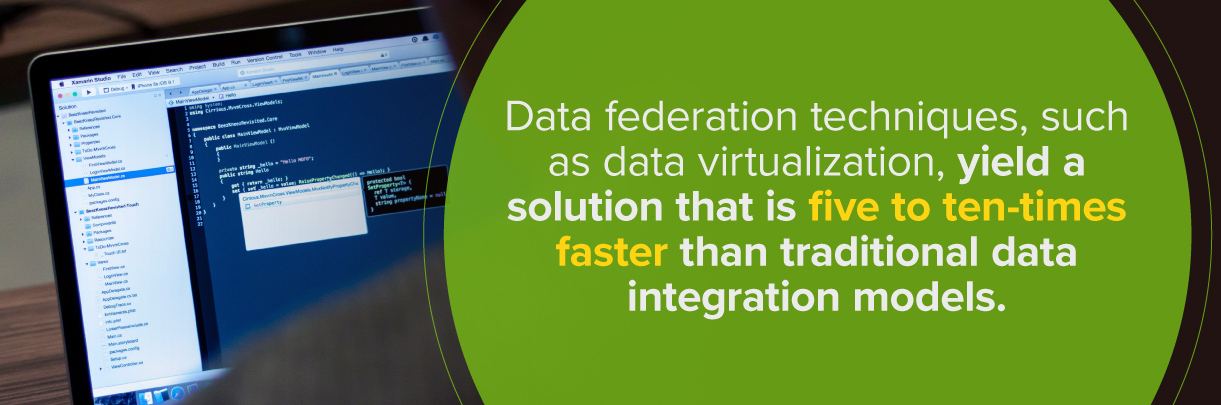 Data virtualization can be 5 to 10 times faster than traditional data integration